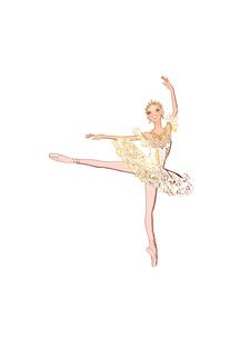 バレエ「眠りの森の美女」オーロラ姫を踊る女性のイラスト素材 [FYI02681316]