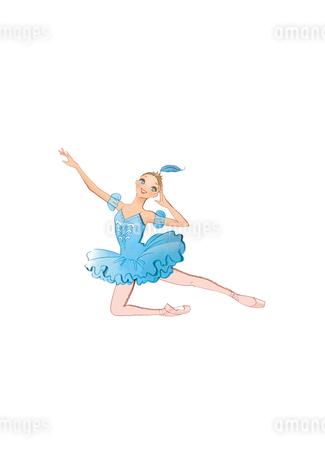 バレエ「眠りの森の美女」フロリナ姫を踊る少女のイラスト素材 [FYI02681366]