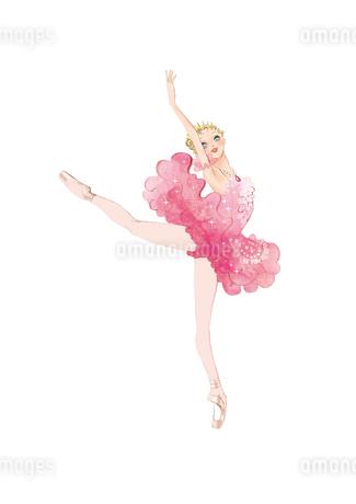 バレエ「眠りの森の美女」オーロラ姫を踊る女性のイラスト素材 [FYI02681386]