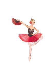 バレエ「ドン・キホーテ」キトリを踊る女性のイラスト素材 [FYI02681559]