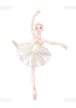 バレエ 白いチュチュを着て踊る女性のイラスト素材 [FYI02681578]