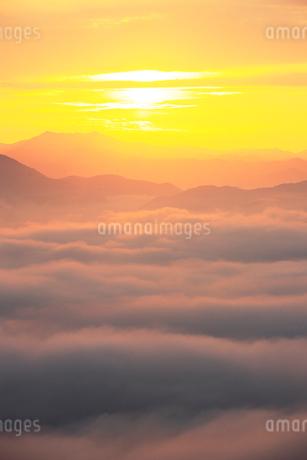 大洲盆地の夜明けの写真素材 [FYI02681968]