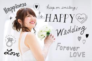 花嫁衣装を着た女性のイラスト素材 [FYI02682747]
