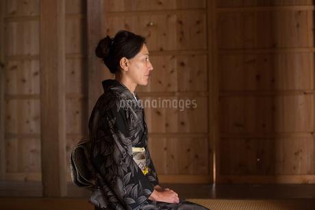 大島紬を着てポーズする40代女性染色家の写真素材 [FYI02682813]