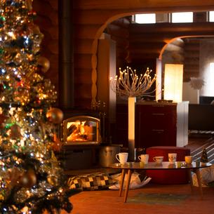 クリスマスツリーの飾ってある部屋の写真素材 [FYI02683017]