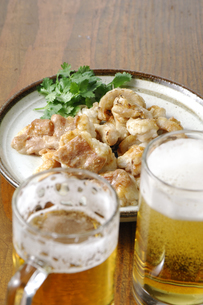 ホルモン焼き(コプチャン・ミノサンド)とビールの写真素材 [FYI02683249]