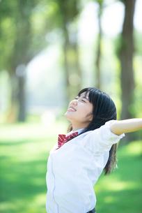 ポプラ並木で両手を広げる女子学生の写真素材 [FYI02683290]