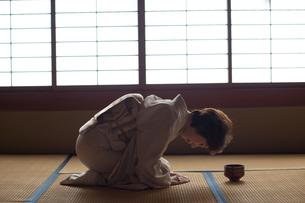 茶道を嗜む50代女性の写真素材 [FYI02683380]