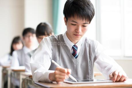 タブレットPCで勉強をする男子学生の写真素材 [FYI02683685]