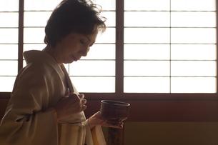 茶道を嗜む50代女性の写真素材 [FYI02684061]