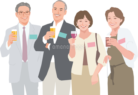 同窓会で集うアクティブシニアの男性と女性のイラスト素材 [FYI02684252]