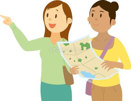 地図を持って道を尋ねる東南アジア系女性のイラスト素材 [FYI02684408]