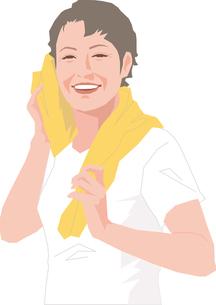 ジムで鍛えるアクティブシニアの女性のイラスト素材 [FYI02684499]