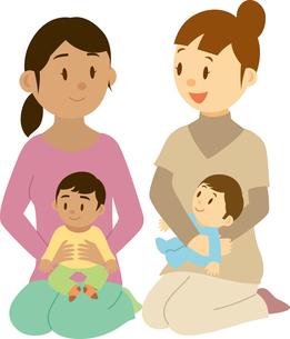 東南アジア系女性と日本人女性のママ友のイラスト素材 [FYI02684807]