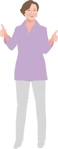 親指を立てるアクティブシニアの女性のイラスト素材 [FYI02684922]