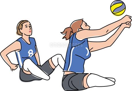 障害者スポーツ シッティングバレーボールのイラスト素材 [FYI02684937]