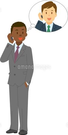 携帯電話で話すアフリカ系男性と日本人男性のイラスト素材 [FYI02684977]