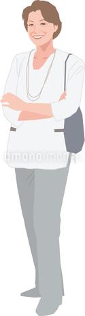 腕組みをするアクティブシニアの女性のイラスト素材 [FYI02685754]