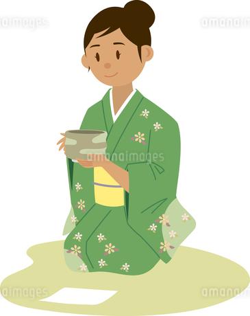 茶道を習う東南アジア系女性のイラスト素材 [FYI02685755]