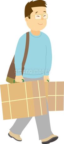 買い物を楽しむ中国系男性のイラスト素材 [FYI02686064]