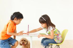 子供部屋でお絵かきをする男の子と女の子と犬の写真素材 [FYI02686177]