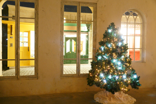 クリスマスツリーのある部屋の窓から見える街並みの写真素材 [FYI02686250]