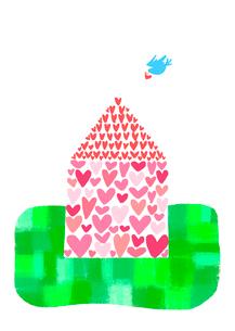ハートの家と青い鳥のイラスト素材 [FYI02686425]