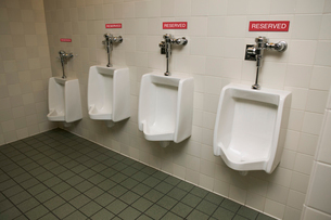 Urinals with reserved signsの写真素材 [FYI02686500]
