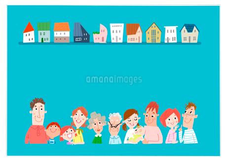家並みと人々のイラスト素材 [FYI02686505]