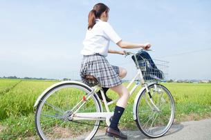 自転車通学する女子高校生の写真素材 [FYI02686535]