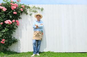 バラと白い板壁の前に立つ中年男性の写真素材 [FYI02686630]