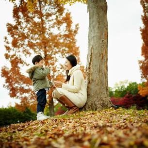 向い合う母親と男の子の写真素材 [FYI02687450]