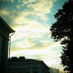 木と建物のシルエットと雲 フィンランドの写真素材 [FYI02687454]