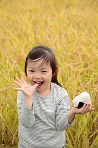田園でおにぎりを食べる女の子の写真素材 [FYI02688886]