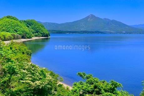 新緑の材木山半島と磐梯山に猪苗代湖の写真素材 [FYI02689319]