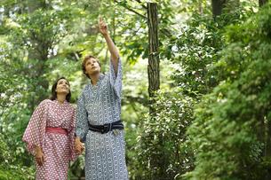 緑の木々を見上げる浴衣姿の外国人カップルの写真素材 [FYI02689535]