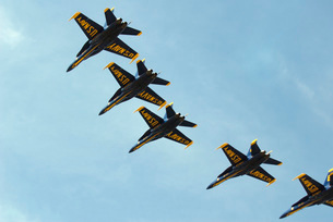 The Blue Angels perform aerial demonstrations during an airの写真素材 [FYI02689657]