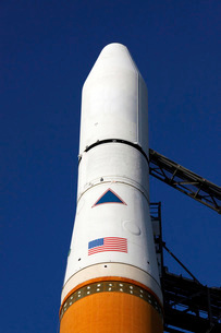 View of the nose cone of the Delta IV rocket that will launcの写真素材 [FYI02689811]