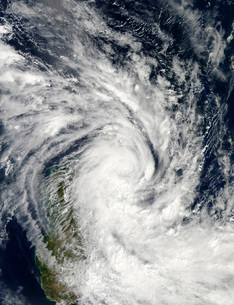 Tropical Storm Jade coming ashore over Madagascar.の写真素材 [FYI02689825]