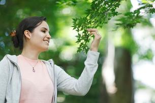 枝に触れる外国人女性の横顔の写真素材 [FYI02689946]