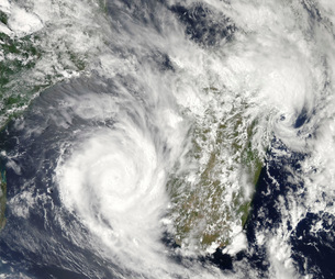 Tropical Cyclones Eric and Fanele approaching Madagascar.の写真素材 [FYI02689992]