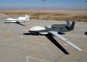 Two Global Hawks parked on a ramp.の写真素材 [FYI02690122]