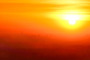八王子城址山より朝焼けのスカイツリーと都心ビル群を望むの写真素材 [FYI02690164]
