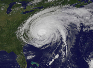 Satellite view of Hurricane Irene.の写真素材 [FYI02690281]