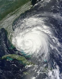 Satellite view of Hurricane Irene over the Bahamas.の写真素材 [FYI02690447]