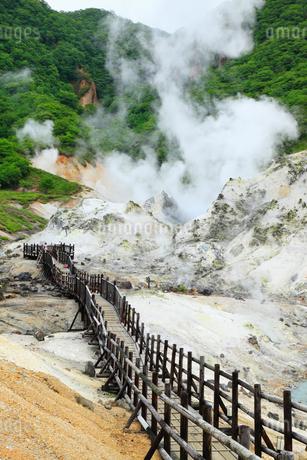 登別温泉の地獄谷と遊歩道の写真素材 [FYI02690848]