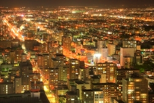 JRタワーから望む札幌市街夜景の写真素材 [FYI02691204]