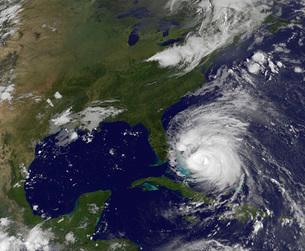 Satellite view of Hurricane Irene.の写真素材 [FYI02691363]