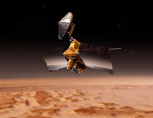 Mars Reconnaissance Orbiter passes above planet Mars.の写真素材 [FYI02691371]