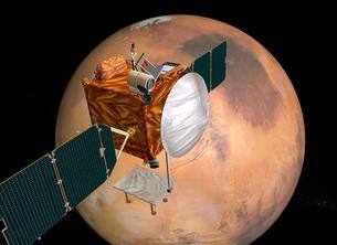 Mars Telecommunications Orbiter in flight around Mars.の写真素材 [FYI02691586]